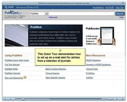 Quick Tour demo for Pubmed email alerts.