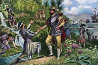 Artistic rendering of Ponce de León accepting water from the Fountain of Youth (taken from tabuherbalsmoke.com via Bing Images).