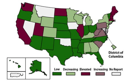 Activity of enterovirus-D68-like illness in reporting states. Taken from CDC website for EV-D68.