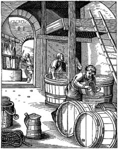 A 16th-century brewery. The Brewer, designed and engraved in the Sixteenth Century, by J. Amman (taken from Wikipedia).