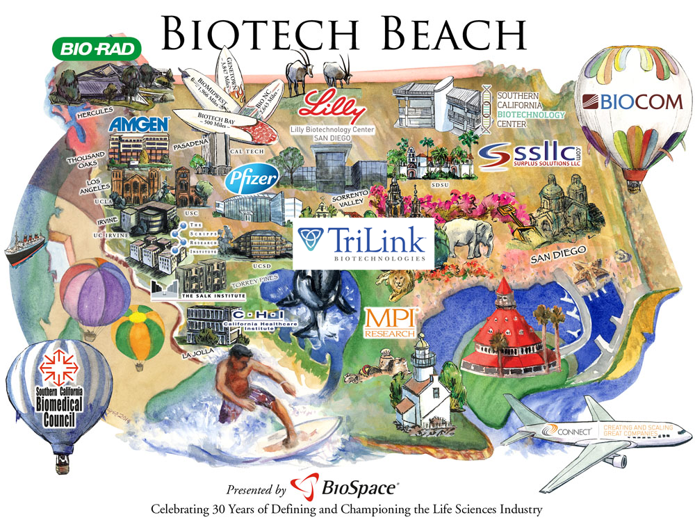 Click here for an interactive version of this map of Biotech Beach taken from by BioSpace.