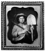 """Miner with Pick, Shovel and Pan"" ca. 1850. Daguerreotype from the collection of Matthew R. Isenburg (taken from georgetowndivide.wordpress.com via Bing Images)."