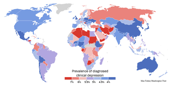 Redder countries have higher depression rates. Bluer countries have lower depression rates. Taken from The Washington Post.