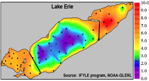 Dissolved oxygen concentrations (mg/l) in Lake Erie during September 7-11, 2005. Hypoxia (dissolved oxygen levels < 4 mg/L) in the central basin can be lethal to fish (taken from glerl.noaa.gov).