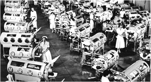 """Nurses and young patients in """"iron lungs"""". Taken from abigailpadgett.wordpress.com."""