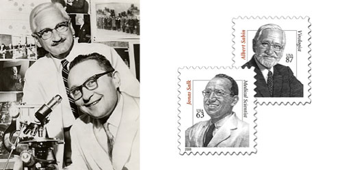 Jonas Salk and Albert Sabin seen smiling in the lab and in commemorative stamps were actually fierce scientific competitors. Taken from amhistory.si.edu and waydn.com.