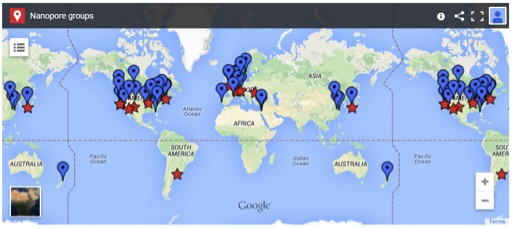 Screenshot taken from The Nanopore Site showing academic (blue) and company (red) labs.