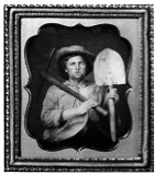 """Miner with Pick, Shovel and Pan"" ca. 1850. Daguerreotype from the collection of Matthew R. Isenburg. Taken from georgetowndivide.wordpress.com"
