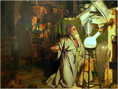 """The Alchymist [sic] in Search of the Philosopher's Stone"" painted by Joseph Wright in 1771. Taken from ultraculture.org."