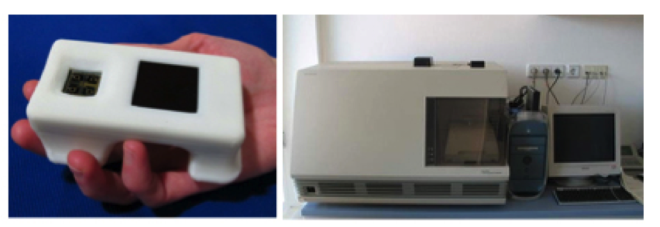 Left: World's smallest real-time PCR device. (Taken from Ahrberg et al). Right: Applied Biosystems 7700 real-time PCR system. (Taken from distrobio.com).