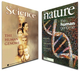 Book of Life: the sequence of the human genome is published in Science and Nature (taken from lifesciencesfoundation.org).