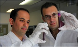 Helmy Eltoukh (left), CEO of Guardant Health, with AmirAli Talasaz, President and CTO, in the lab. Credit Jim Wilson/the NY Times.